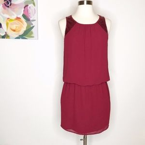 Naked Zebra | Burgundy Sleeveless Sequin Dress S